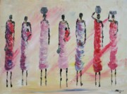 Masai Paintings - Masai Women by Abu Mwenye
