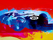 Italian Classic Cars Prints - Maserati on the Race Track 1 Print by Irina  March