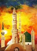 Blessings Paintings - Masjid e nabwi by Catf