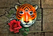 Asian Tiger Digital Art - Mask and Rose by Jeff  Gettis