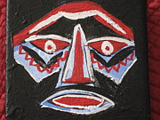 Tribal Art Paintings - Mask in Red White and Blue by Dotti Hannum