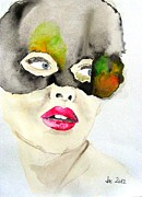 Mask In Watercolor Print by Jacqueline Schreiber
