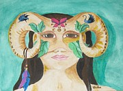 Zodiac Paintings - Mask  by Jeanel Walker