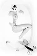 Nude Woman Water Posters - Masked Figure in Milk Poster by Jt PhotoDesign