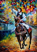 Horse Race Paintings - Masked horseman by Leonid Afremov