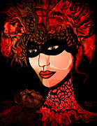 Collar Mixed Media Prints - Masked Woman Print by Natalie Holland