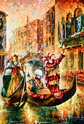 Gondola Tapestries Textiles - Masks of Venice by Leonid Afremov