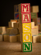 Alphabet Metal Prints - MASON - Alphabet Blocks Metal Print by Edward Fielding