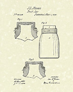 Fruit Drawings Posters - Mason Fruit Jar 1870 Patent Art Poster by Prior Art Design