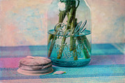 Water Jars Metal Prints - Mason Jar Vase Metal Print by Kay Pickens