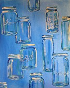 Mason Jars Painting Framed Prints - Mason Jars Framed Print by Kelli Perk