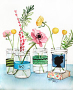 Flower Display Prints - Mason Jars with Flowers Print by Heatherlee Chan