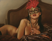 Graphite Framed Prints - Masquerade I Framed Print by John Silver