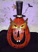 Creepy Digital Art Prints - Masquerade Mask Pumpkin - Halloween art Print by Ella Kaye