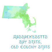 Bay Mixed Media Posters - Massachusetts - Bay State - Old Colony State - Map - State Phrase - Geology Poster by Andee Photography