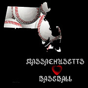 Baseball Digital Art Posters - Massachusetts Loves Baseball Poster by Andee Photography