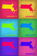 World Map Digital Art Metal Prints - Massachusetts Pop Art Map 1 Metal Print by Irina  March