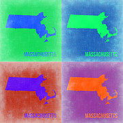 World Map Digital Art Metal Prints - Massachusetts Pop Art Map 2 Metal Print by Irina  March