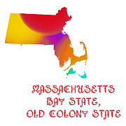 Home Design Abstract Collection - Massachusetts State Map Collection 2 by Andee Photography