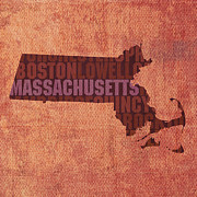 Massachusetts Metal Prints - Massachusetts Word Art State Map on Canvas Metal Print by Design Turnpike