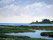 Massachusetts Pastels Posters - Massachussetts Marsh Morning Poster by Lorraine McFarland
