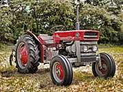 Machinery Digital Art Framed Prints - Massey Ferguson 130 Tractor Framed Print by Peter Chapman