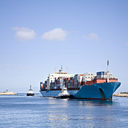 Commerce Photo Prints - Massive Container Ship Entering River Mouth Assisted by Two Tugs Print by Colin and Linda McKie