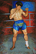 Kick Boxing Prints - Master Chai Print by Mike Walrath