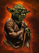 Yoda Framed Prints - Master Jedi Framed Print by Wesley S Abney