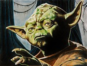 Science Fiction Drawings Metal Prints - Master Yoda Metal Print by Brian Broadway