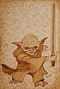 Yoda Framed Prints - Master Yoda Jedi Fight beer painting Framed Print by Georgeta  Blanaru