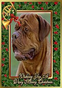 Mastiff Dog Paintings - Mastiff Dog Christmas by Olde Time  Mercantile