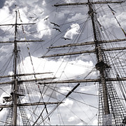 Masts Of Sailing Ships Print by Evie Carrier