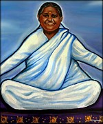 Spiritual Portrait Of Woman Painting Metal Prints - Mata Amritanandamayi Metal Print by Carmen Cordova