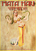 Bellydancer Framed Prints - Mata Hari Vintage Wine Ad Framed Print by Cinema Photography