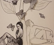 Love Poem Drawings - Match Up Close by Aaron El-Amin