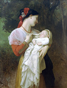 Maternal Posters - Maternal Admiration Poster by William Bouguereau
