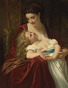 Embrace Paintings - Maternal Affection by Hugues Merle