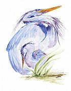 Baby Bird Painting Framed Prints - Maternal Heron Framed Print by Eve McCauley