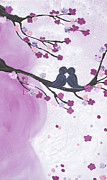 Baby Bump Art - Maternity - Love Birds in Cherry Tree by April Kasper