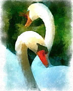 Swans... Mixed Media - Mates for Life by Amy G Taylor