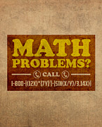 Problems Framed Prints - Math Problems Hotline Retro Humor Art Poster Framed Print by Design Turnpike