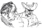 Men Talking Drawings - Math teacher and the magician by Ylli Haruni