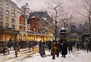 Mid Adult Metal Prints - Matinee au Moulin Rouge Paris Metal Print by Eugene Galien-Laloue