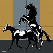 Dressing Room Digital Art Posters - Mating Horses Poster by Roby Marelly