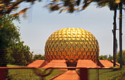 Kantilal Patel Prints - Matramandir Auroville from a moving bus Print by Kantilal Patel
