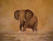 Cellphone Painting Posters - Matriarch Elephant Poster by Leon Crown