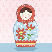 Featured Drawings Prints - Matryoshka Doll  Print by Amanda Francey