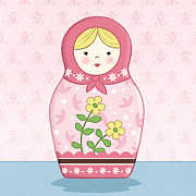 Featured Drawings Prints - Matryoshka Doll Pink Print by Amanda Francey