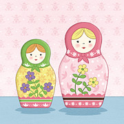 Featured Drawings Prints - Matryoshka Sisters Print by Amanda Francey
